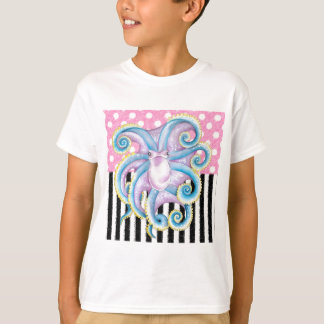 Camiseta Rosa artística do polvo