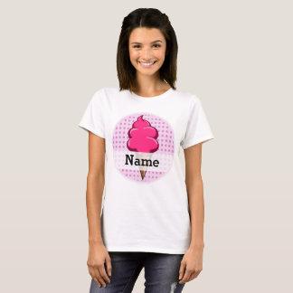 Camiseta Rosa bonito sorvete personalizado para meninas