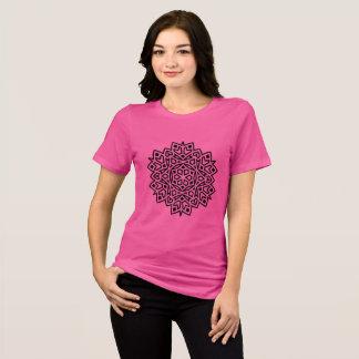 Camiseta ROSA criativo do t-shirt com mandala preta