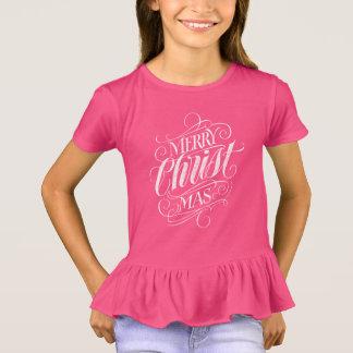 Camiseta Rosa cristão da caligrafia do giz do Natal do