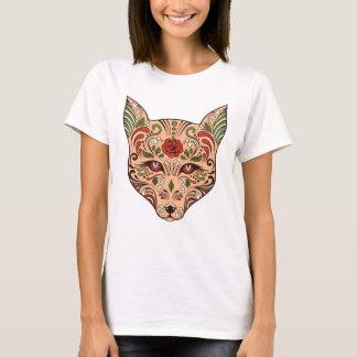 Camiseta Rosa do malva de Tan da cabeça do lobo do crânio