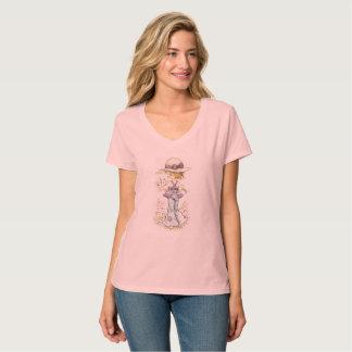 """Camiseta Rosa do t-shirt do V-Pescoço de Sarah Kay """"Camilo"""""""
