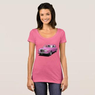 Camiseta Rosa no t-shirt real das senhoras do carro do
