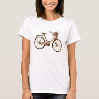 Camiseta Rosas antigos das flores de cesta da bicicleta do