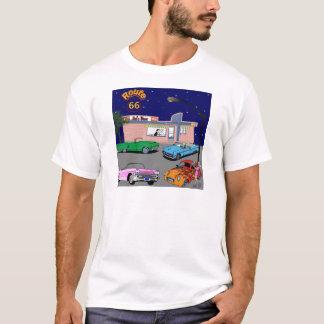 Camiseta rota 66 do comensal dos anos 50 e carros vintage