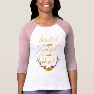 Camiseta Roteiro abençoado grato grato do ouro elegante do