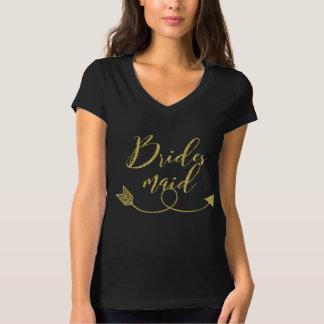 Camiseta Roteiro e seta da dama de honra do brilho do ouro
