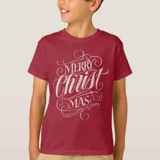 Camiseta Rotulação cristã do quadro do Natal do cristo