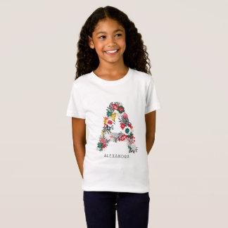 Camiseta Rotule um monograma floral   lunático da letra mim