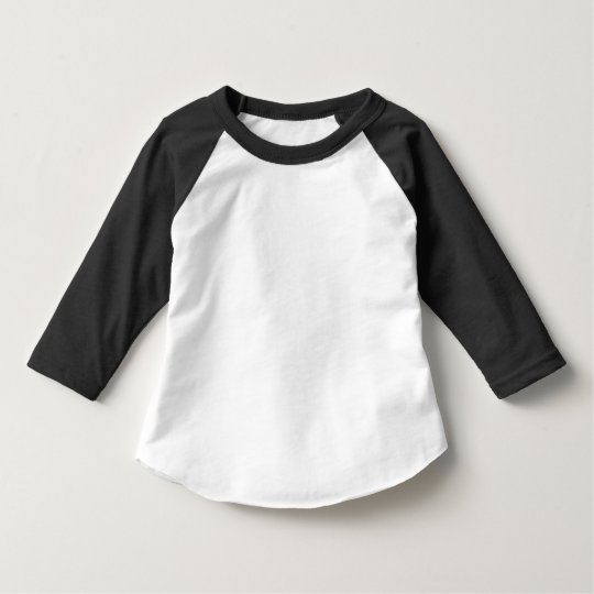 Camiseta Infantil com Mangas 3/4 Raglan, American Apparel, Preto