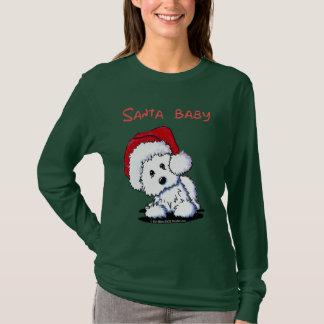 Camiseta Roupa do BEBÊ do PAPAI NOEL do cão de Westie