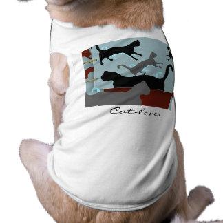 """Camiseta roupa do cão do """"Gato-amante"""""""