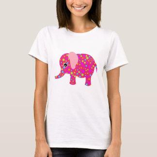 Camiseta Roupa floral cor-de-rosa do elefante