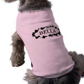 Camiseta Roupa personalizada do cão com nome fêmea feito so