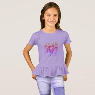 Camiseta roxo do t-shirt do plissado das meninas