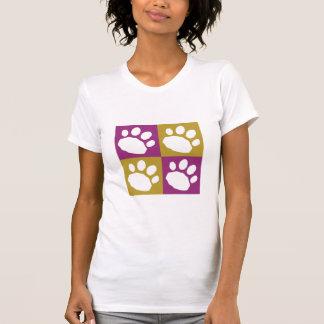 Camiseta Roxo e patas do animal de estimação do tabuleiro