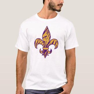 Camiseta Roxo & t-shirt listrado da flor de lis do tigre do