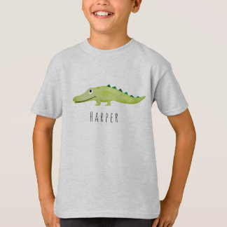 Camiseta Safari legal do crocodilo da aguarela do menino