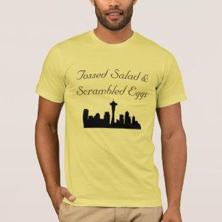 Camiseta Salada e t-shirt lanç dos ovos mexidos