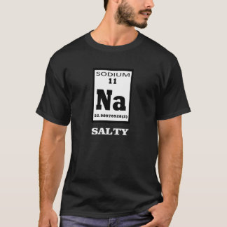 Camiseta Salgado. Humor da mesa periódica