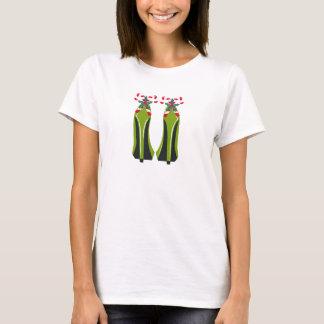 Camiseta Saltos altos verdes com bastões de doces