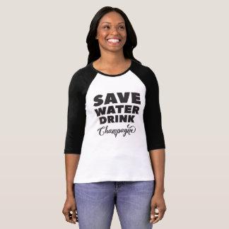 Camiseta Salvar a água, bebida Champagne