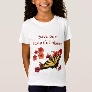 Camiseta Salvar nossa borboleta do amarelo do planeta em