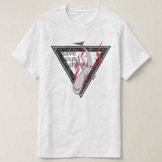 Camiseta salvar nosso triângulo floral dos tubarões SOS