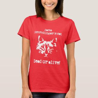 Camiseta Salvar o gato de Schrödinger - inoperante ou vivo!