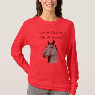 Camiseta Salvar um passeio do vaqueiro um cavalo! Luva