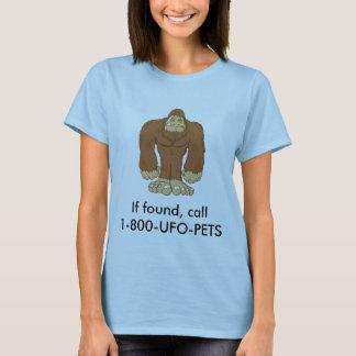 Camiseta sasquatch, se encontrado, chamada 1-800-UFO-PETS