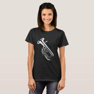 Camiseta Saxhorn/preto silhueta da tuba