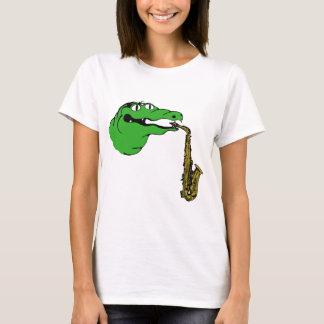 Camiseta SAXOFONE da engrenagem do jacaré nenhumas palavras