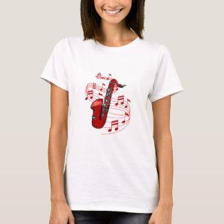 Camiseta Saxofone vermelho com notas da música
