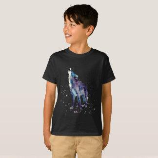 Camiseta scwarzes shirt com wolf handgemaltem velho com