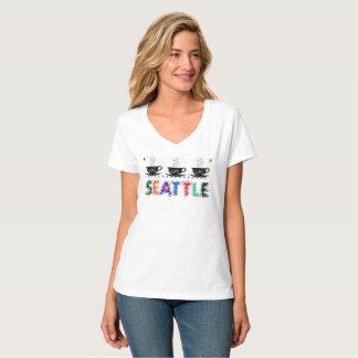Camiseta Seattle, Washington com os copos de café húmidos