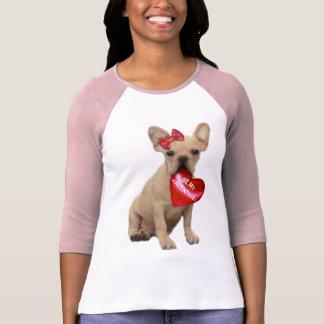Camiseta Seja meu t-shirt do buldogue francês dos namorados