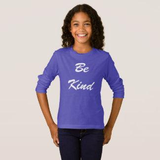 Camiseta Seja t-shirt longo amável da luva