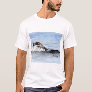 Camiseta Selo de bebê da natação, aguarela