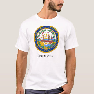Camiseta Selo e divisa do estado de New Hampshire