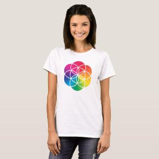 Camiseta Semente do arco-íris de Chakras do símbolo da vida
