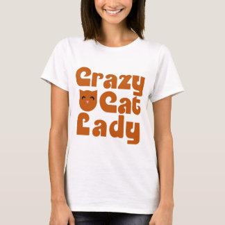 Camiseta Senhora alaranjada louca do gato de gato malhado