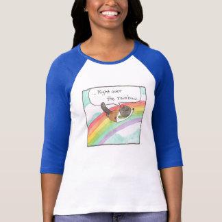 Camiseta Senhora Basebol T do arco-íris