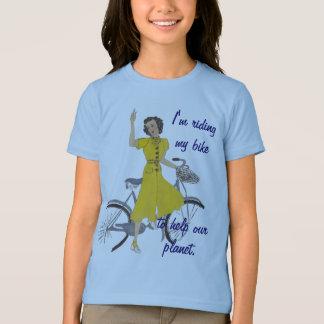 Camiseta senhora bonita da bicicleta