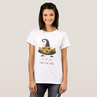 Camiseta Senhora bonito o Dia das Bruxas do gato