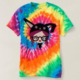 Camiseta Senhora do coelho da tintura do laço