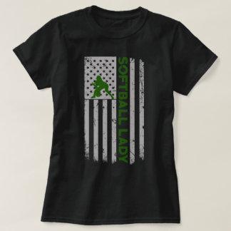 Camiseta Senhora E.U. Bandeira Orgulho do softball