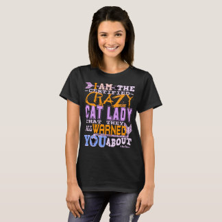 Camiseta Senhora louca certificada engraçada do gato