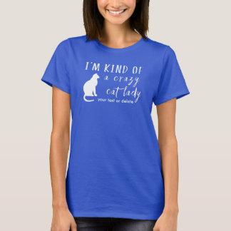 Camiseta Senhora louca engraçada Gatinho Amante