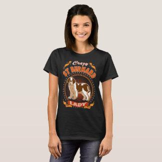 Camiseta Senhora louca Tshirt do cão de St Bernard